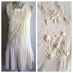 Ivory Drop Waist 1920s Inspired Dress