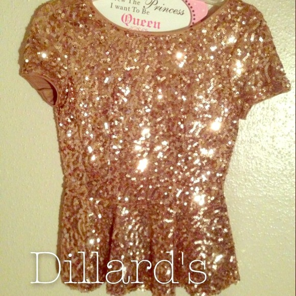 Tops - Gold Sequin Peplum Blouse.