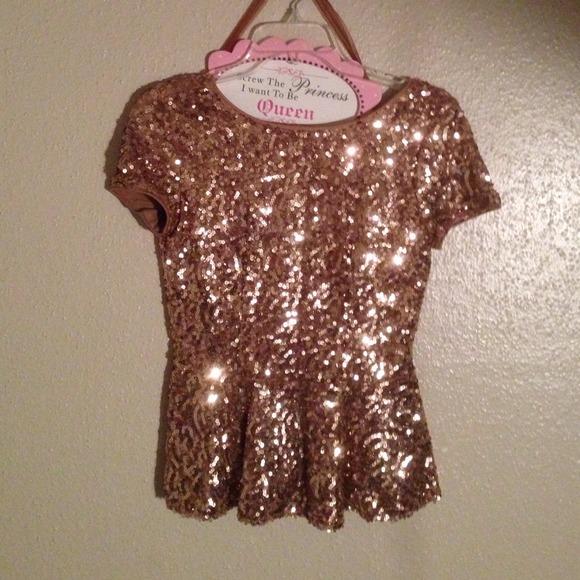 Tops - Gold Sequin Peplum Blouse.