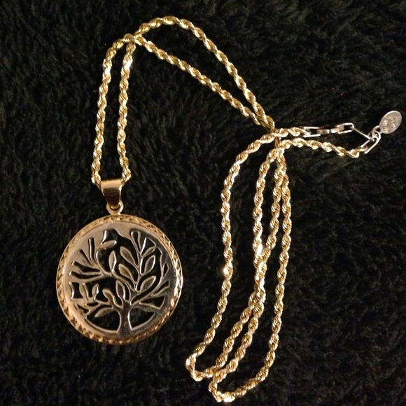 Love, Earth gold Tree of Life cutout necklace