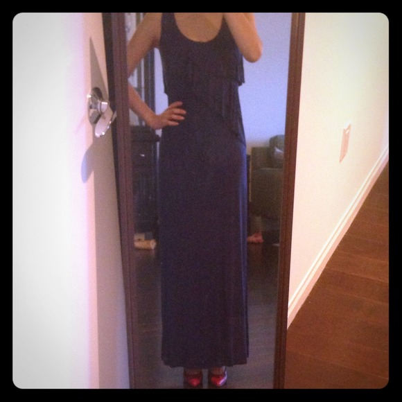 calvin klein maxi dress blue navy