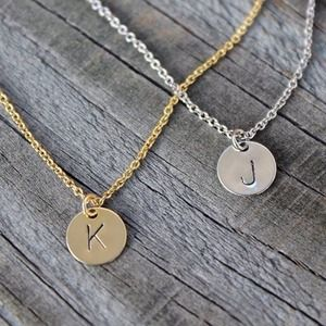 Jewelry - Tiny hand stamped initial disc necklace