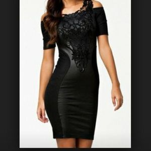 Cocktail Dress in black lace and faux leather