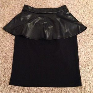 Leather peplum skirt
