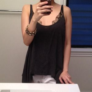 Brandy Melville Tops - Brandy Melville charcoal grey draped tank!