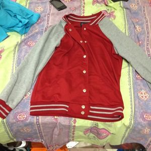 Red faux varsity jacket size small