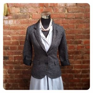 Charcoal Tweed Blazer with Elbow Patches