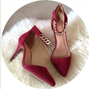 Shoes - Burgundy Gold Chain Ankle Strap Pointed Pumps