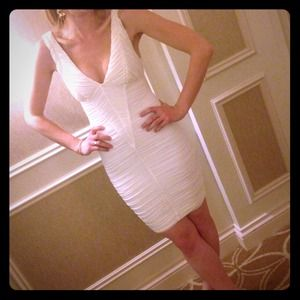 bebe Dresses & Skirts - Sexy bachelorette white ruched dress