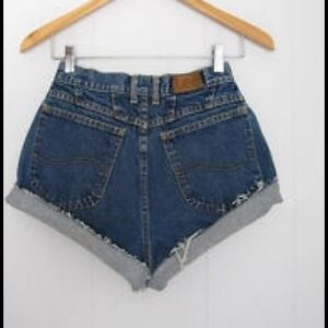 High shorts dark wash
