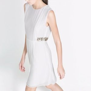 Zara waist embellishment white dress