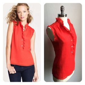 j. crew // natasha silk tank top • red