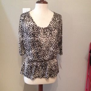 NWT Black and white animal print top