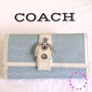 AUTHENTIC COACH WALLET LIGHT BLUE SIGNATURE