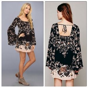 NWT Free People Boho Floral Bell Sleeve Dress XS