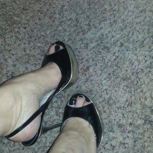 Jimmy Choo black patent and silver