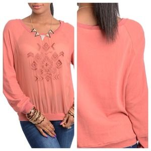 Sweaters - Rose Geometric Pattern Sweater
