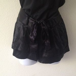 Pants - Black satin shorts
