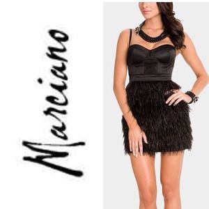 🎉 NWT 🎉 Marciano Milana Black Ostrich Dress