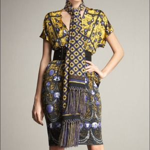 Jean Paul Gaultier Silk Scarf.  Yellow/Multi NWT
