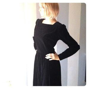 Vintage Black Velveteen w. shiny buttons down back