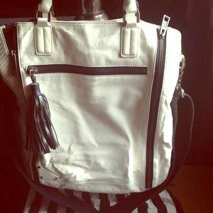 HPL.A.M.B. Large White/Black Leather Bag