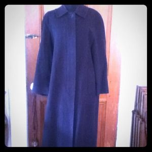 Vintage Burberry Navy Wool & Cashmere Dress Coat