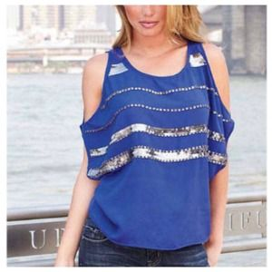 Tops - Embellished Blue & Silver Top + Cut-Out Shoulders