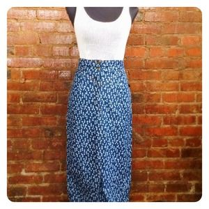 Vintage Ikat Print Denim Skirt
