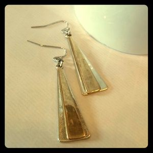 Two toned earrings gold on silver