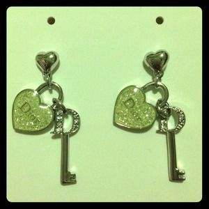 Dior NWT heart and key lock earrings