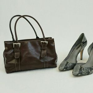 Handbags - Brown double handle handbag with center divider