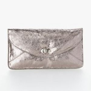 Sorial Clutches & Wallets - Metallic Silver Crackle Leather Envelope Clutch