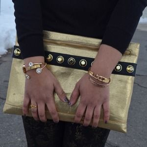 Clutches & Wallets - Steve Madden Gold Oversized Clutch