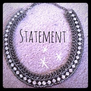 Silver and rhinestone statement necklace 