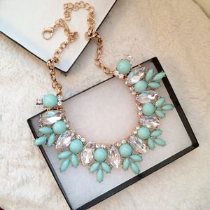 Jewelry - Mint and Crystal Bauble Statement Necklace