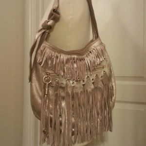 Jimmy Choo gold fringe bag