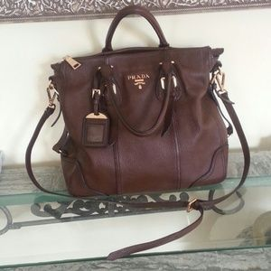 PRADA LARGE Leather Tote Bag Purse