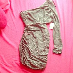 Dresses & Skirts - Dark Grey, One Sleeve Dress