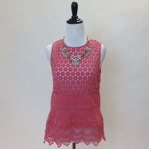 tba Tops - Coral Crochet Lace Top
