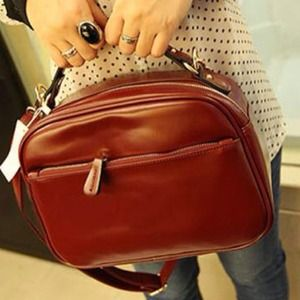 Handbags - New Korean Style Solid Red cute zippers Handbag