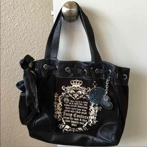 Juicy Couture black velour daydreamer bag