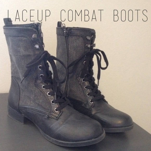49% off PacSun Boots - Grey & Black Lace Up Combat Boots from ...