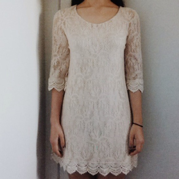 H&m Divided Cream Lace Dress