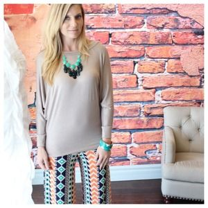 Tops - Taupe dolman sleeve top
