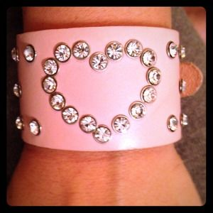 Leather Pink Wrist Bracelet w/ Swarovski Crystals