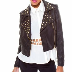 Jackets & Blazers - Studded Moto Leather Jacket
