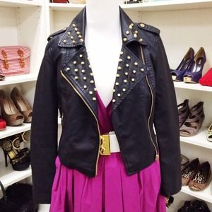 Foreign Exchange Jackets & Blazers - Studded Moto Leather Jacket
