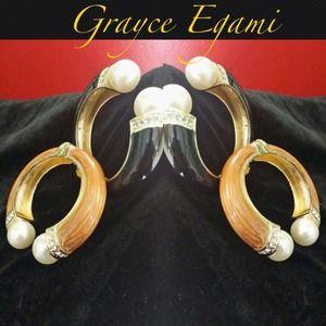 Jewelry - SOLD! Black/Wood Pearl High Fashion Bangles