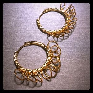 Gold-tone etched hoop earrings